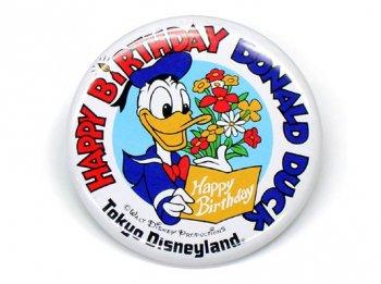 TDL ドナルド ハッピー バースデー 生誕記念 1985年 缶バッジ 缶バッチ 東京ディズニーランド