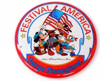 TDL フェスティバル アメリカ 1985年 イベント記念 缶バッジ 缶バッチ 東京ディズニーランド
