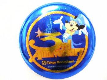 TDL 3周年記念 1986年 ミッキー プロモーション 缶バッジ 缶バッチ 東京ディズニーランド