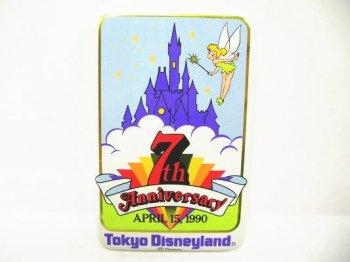 東京ディズニーランド 7周年記念 1990年 キャッスル w/ティンカーベル キャスト限定 缶バッジ 四角 缶バッチ TDL