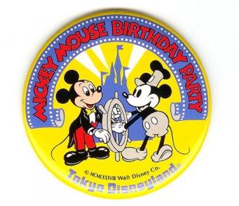 TDL ミッキー 生誕60周年 1988年 バースデー パーティー イベント記念 缶バッジ 缶バッチ 東京ディズニーランド
