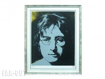 John Lennon ジョン・レノン Photographic Portrait ポートレイト ブラック x イエロー オリジナル版画 セリグラフ アート フレーム額入り
