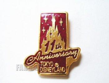 東京ディズニーランド TDL 11周年記念 1994年 赤 キャッスル キャスト限定 ピンズ