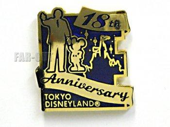TDL 18周年記念 ウォルト&ミッキー E 2001年 配布 ピンズ 東京ディズニーランド