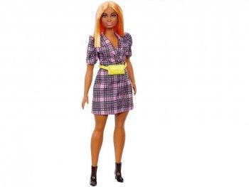 バービー ファッショニスタ チェック柄 ジャケット風ワンピース オレンジへア Curvy カービーボディ ドール 人形 Barbie Fashionistas