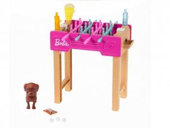 バービー テーブルサッカーゲーム プレイセット 子犬付き 家具 Barbie Table Soccer game Playset