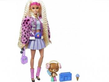 バービー エクストラ ブロンドヘア ポーザブル ドール ヒョウ柄ピンクのファージャケット 子犬のフィギュア付き 人形 Barbie Extra Doll