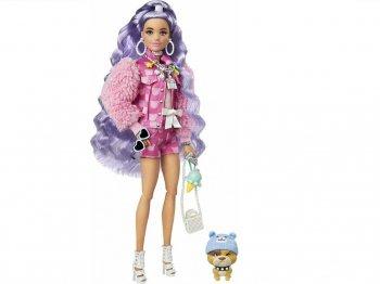 バービー エクストラ パープルヘア ポーザブル ドール ピンクのファージャケット ホットパンツ 子犬のフィギュア付き 人形 Barbie Extra Doll