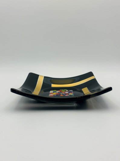 フュージョン皿/四角ムリーナ×金ボーダー/BK