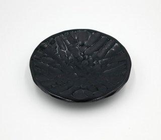 小皿 のみ打 黒 18� 木製 国産 漆塗り