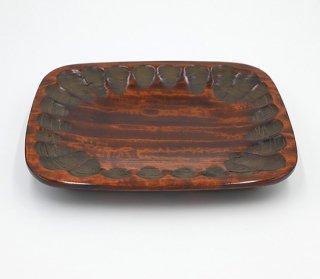 盛り皿 長方形 のみ打 木製 国産 漆塗り