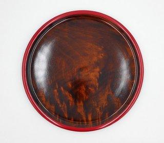 丸皿 渕赤 33� 木製 国産 漆塗り