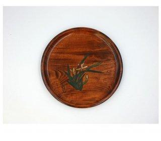 丸皿 ラン彫 24� 木製 国産 漆塗り