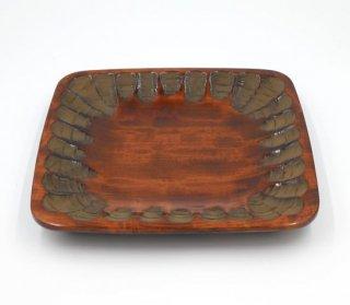 盛り皿 正方形 のみ打 木製 国産 漆塗り