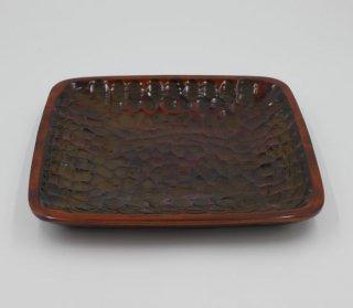 盛り皿 正方形 総のみ打 木製 国産 漆塗り