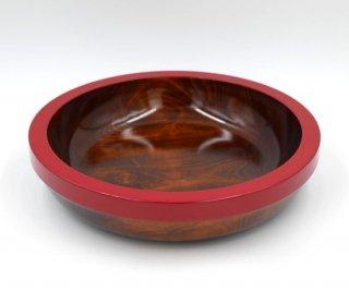 深鉢 渕赤 33� 木製 国産 漆塗り
