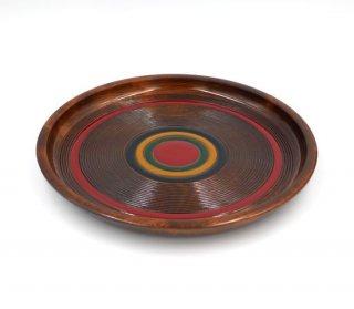 丸盆 こま塗り 33� 木製 国産 漆塗り