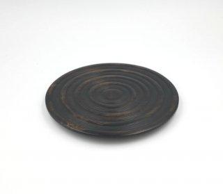 プレート 丸形 波紋 27� 木製 国産 漆塗り