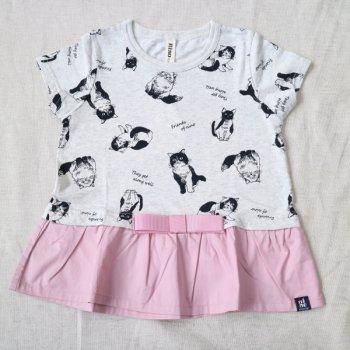 ねこ柄リボン付けTシャツ|オートミール|90-110cm|nino