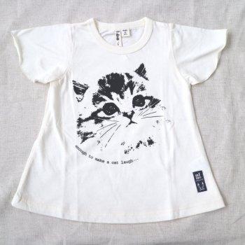 ねこプリントTシャツ|オフホワイト|90-100cm|nino