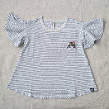ねこワッペンボーダーTシャツ|オフホワイト|レディース|nino