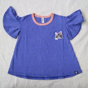 ねこワッペンボーダーTシャツ|ブルー|レディース|nino
