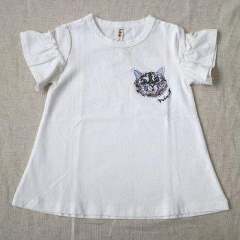 ねこワッペンTシャツ|オフホワイト|レディース|nino