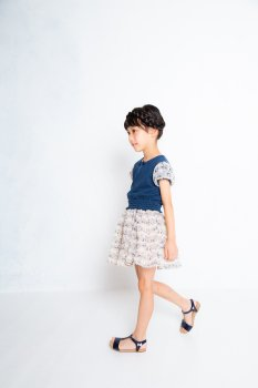 ねこシフォン袖Tシャツ|ネイビー|90cm-120cm|nino