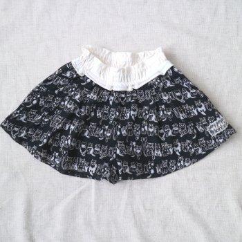ねこシフォンキュロットスカート|ブラック|90-100cm|nino