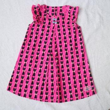 ねこプリントワンピース|ピンク|100-130cm|nino
