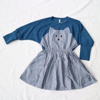 ねこ顔刺繍ワンピース|ブルー|90-140cm|nino