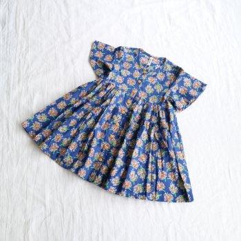 フラワーブーケプリント前明きワンピース|ブルー|100-150cm|nino