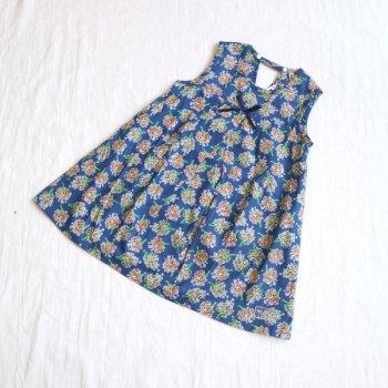 フラワーブーケPTノースリーブワンピース|ブルー|100-130cm|nino