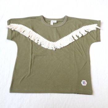 フリンジTシャツ|カ−キ|レディース|nino