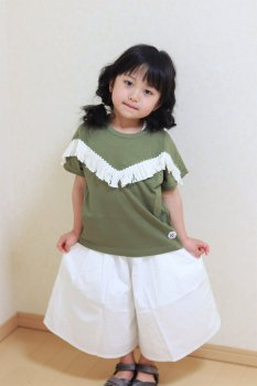 フリンジTシャツ|カ−キ|90cm,110cm,130cm|nino