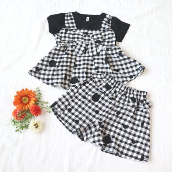 nino【セットアップ販売】Tシャツ+キュロット|ブラック|90-150cm