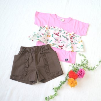 nino【セット販売】Tシャツ+パンツ|ピンク+モカチャ|100-150cm