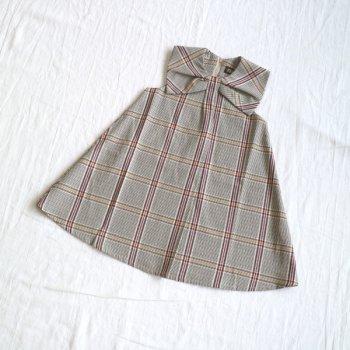 チェック衿付き ジャンスカ|ベージュ|90-150cm