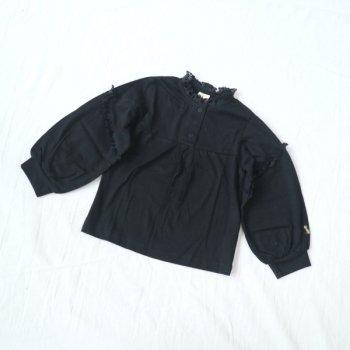 ボリューム袖 フリルTシャツ|ブラック|90-140cm