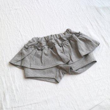 グレンチェック ペプラムショートパンツ|チャコール|90-130cm