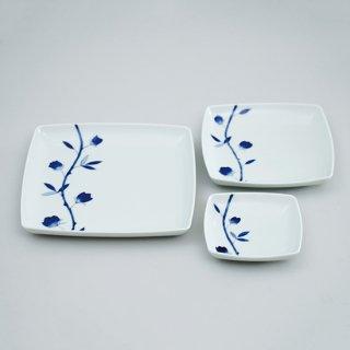 蔦青バラ スクエア皿(3サイズ)