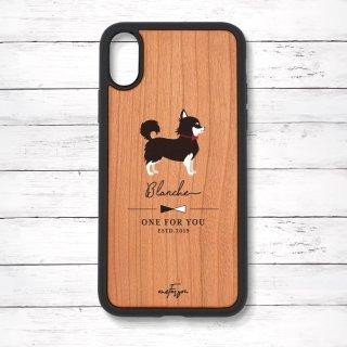 チワワ(Simple) 衝撃吸収タイプ 木製iPhoneケース