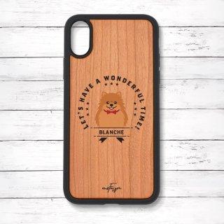 ポメラニアン(emblem) 衝撃吸収タイプ 木製iPhoneケース