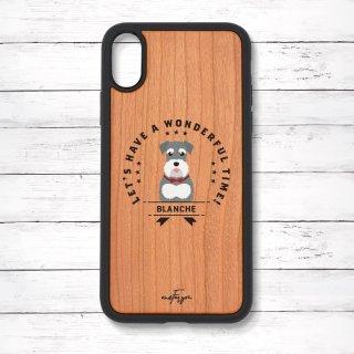 ミニチュアシュナウザー(emblem) 衝撃吸収タイプ 木製iPhoneケース
