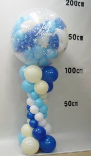 スパークバルーン大 高さ1.8m 青白mini balloon