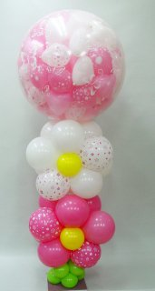 スパークバルーン大 高さ1.8m 紅白mini balloonとお花