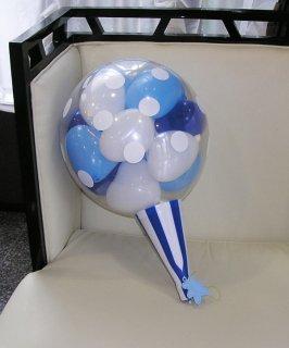 バルーンクラッカー青白 中サイズ50cm お祝い事に