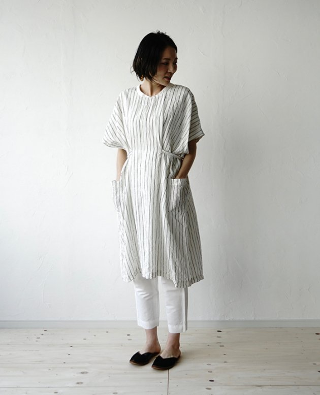 NON-SLEEVE / white stripe linen