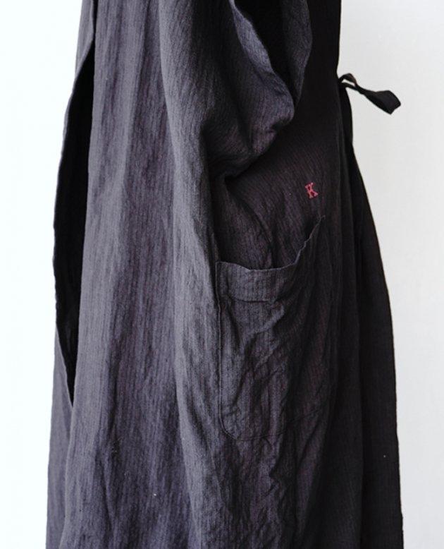 NON-SLEEVE / navy linen stripe