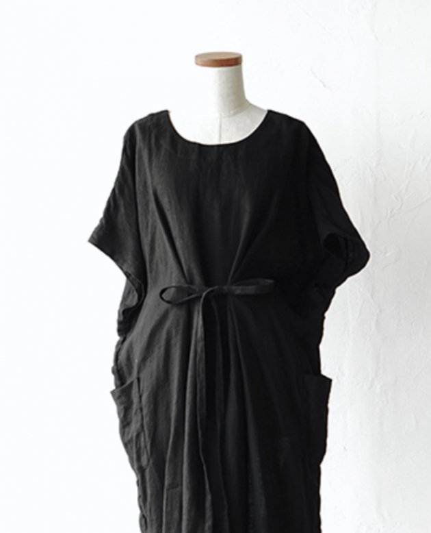 NON-SLEEVE / black linen viyella